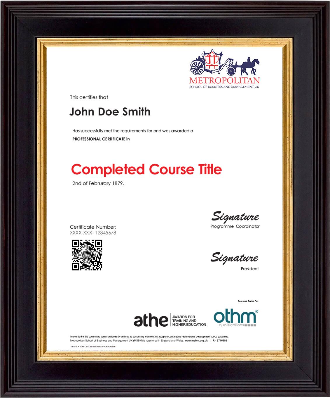 Professional Certificate Course Sample Certificate