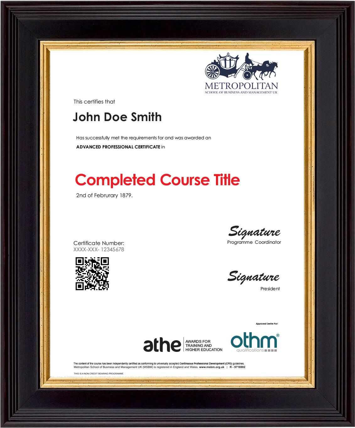 APCC Sample Certificate
