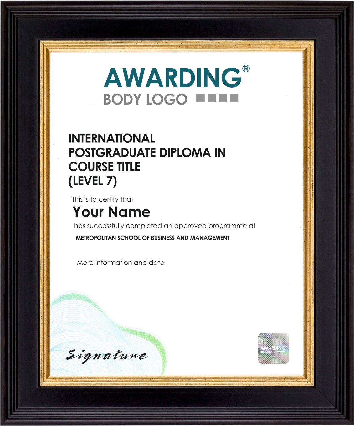 International Postgraduate Sample Certificate