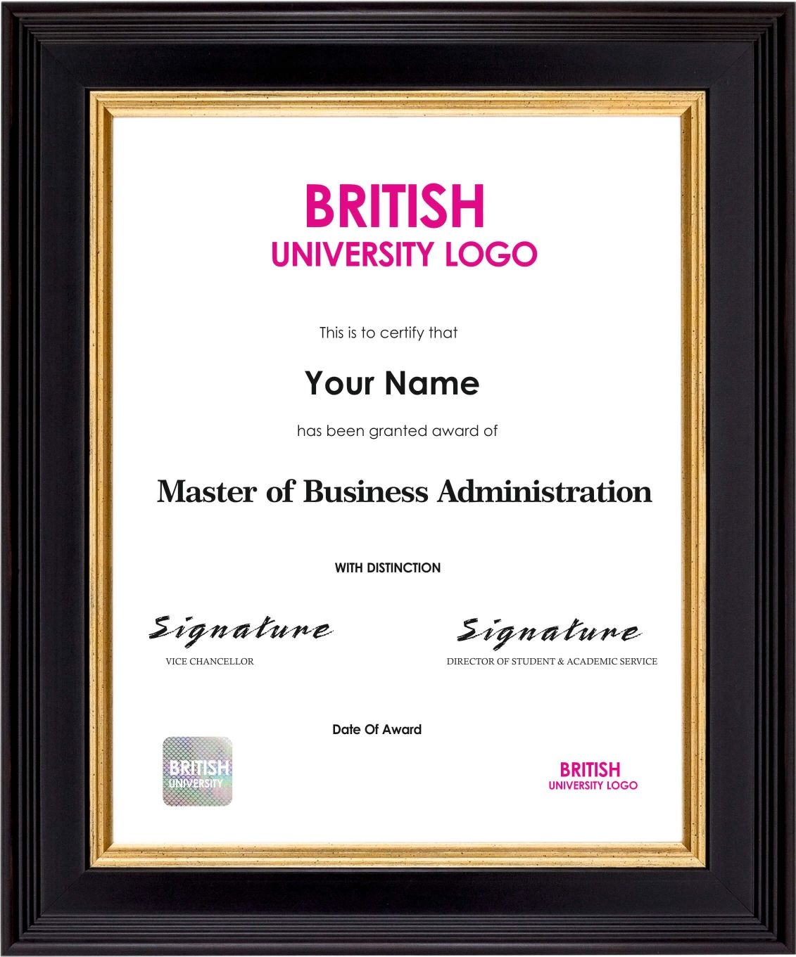 MBA Sample Certificate