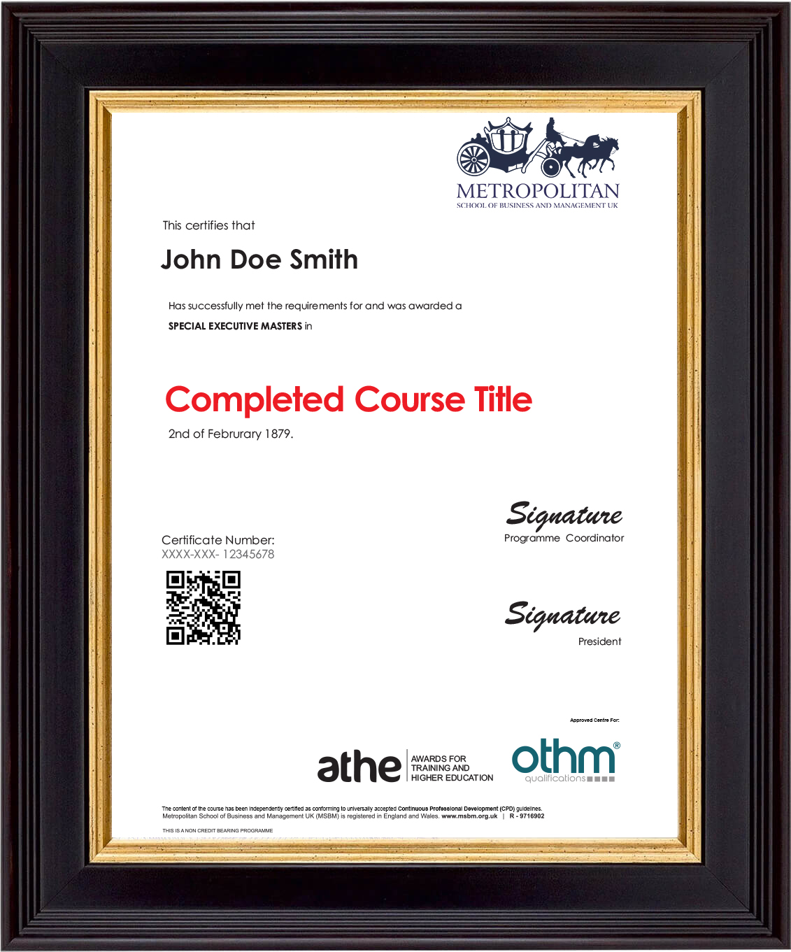 Executive Masters Sample Certificate