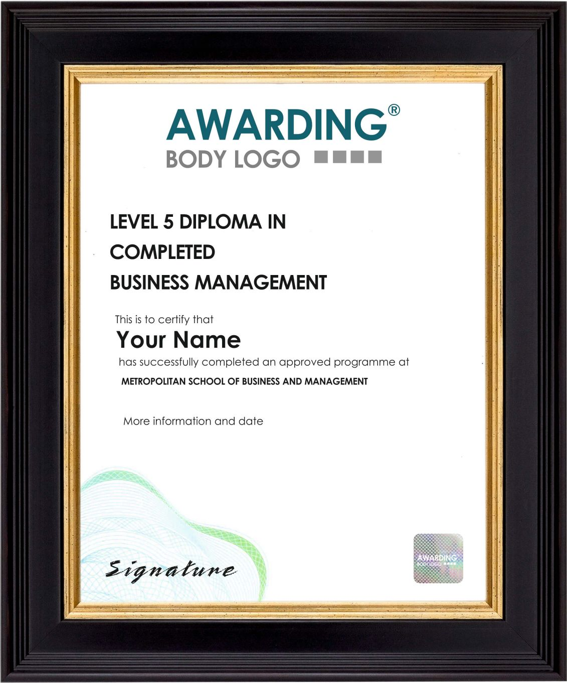 Level 5 Sample Certificate